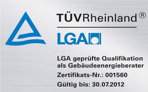 TÜV / LGA - Zertifikat: Gebäudeenergieberater